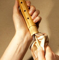 Oiling the the middle joint of a recorder