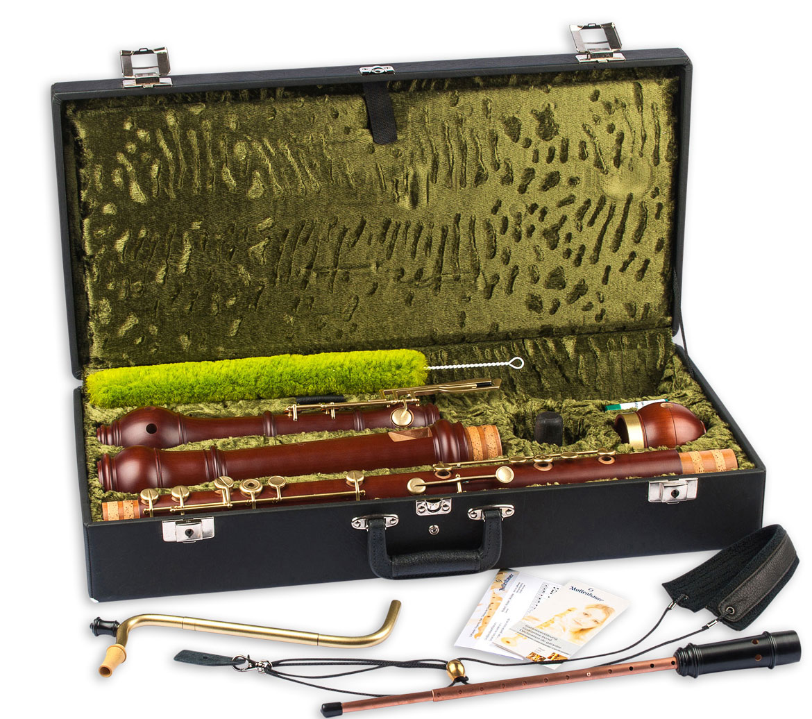 Great bass recorders Mollenhauer 5606 Denner baroque with keys