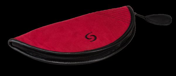 Stofftasche in bordeaux mit Ledereinfassung für dreiteilige Altblockflöte