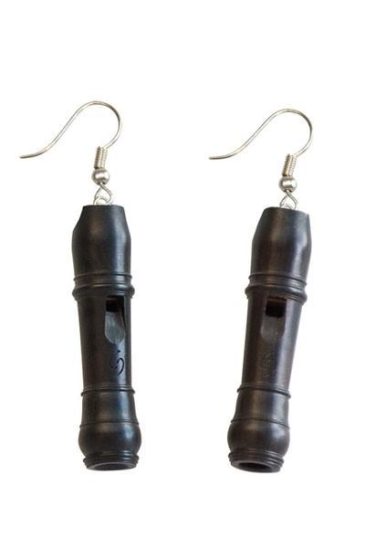Barock-Miniaturblockflöte als Ohrringe (Grenadill)