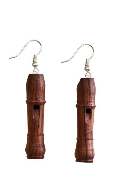 Barock-Miniaturblockflöte als Ohrringe (Palisander)