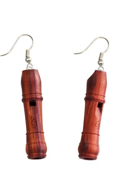 Barock-Miniaturblockflöte als Ohrring (Rosenholz)